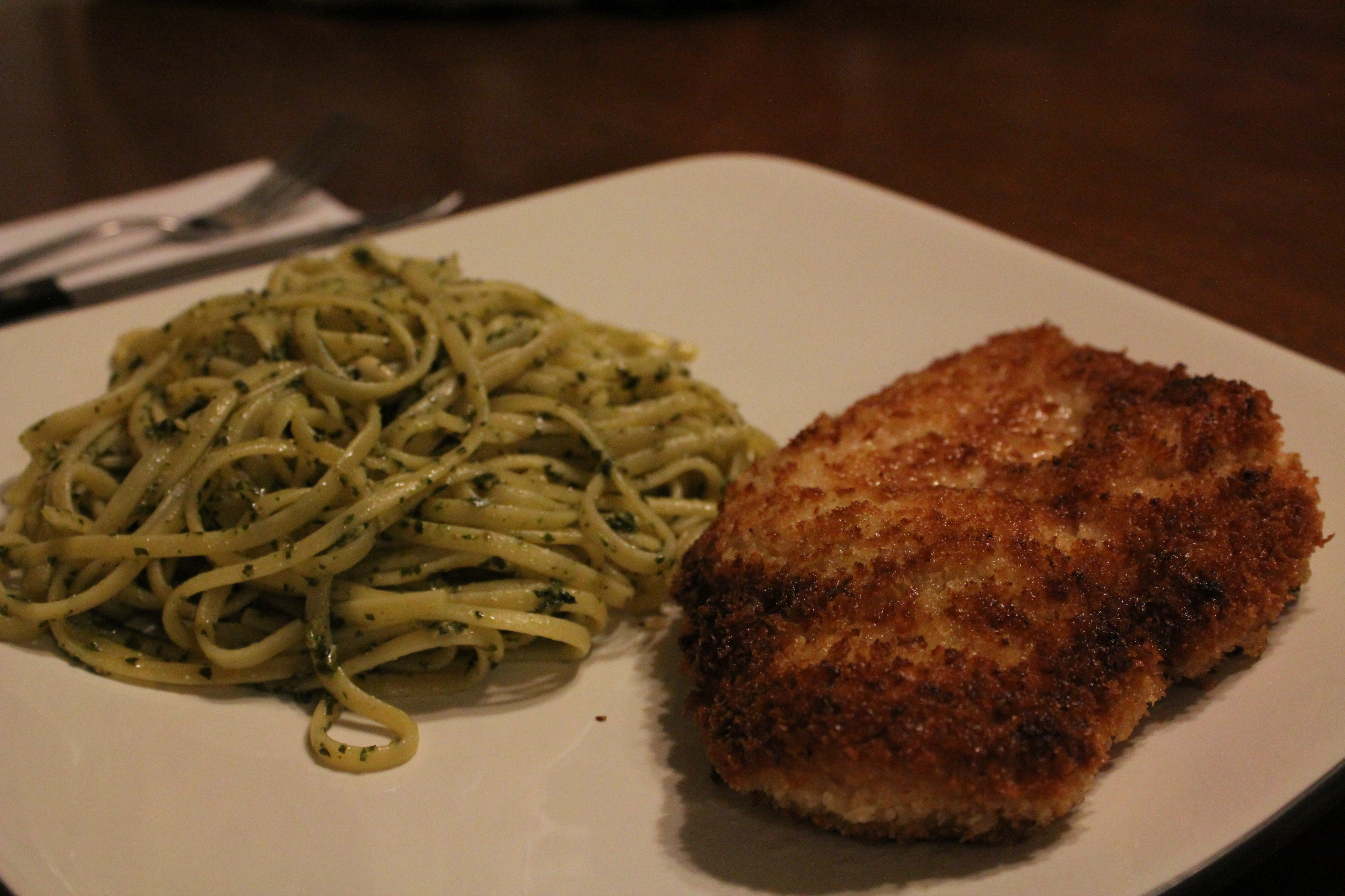 Lemon Pepper Panko Crusted Chicken with Pesto Pasta | Down The Road I ...