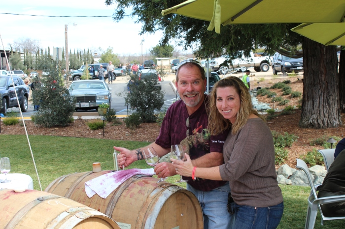 Troy & I Enjoying Some Barrel Wine!