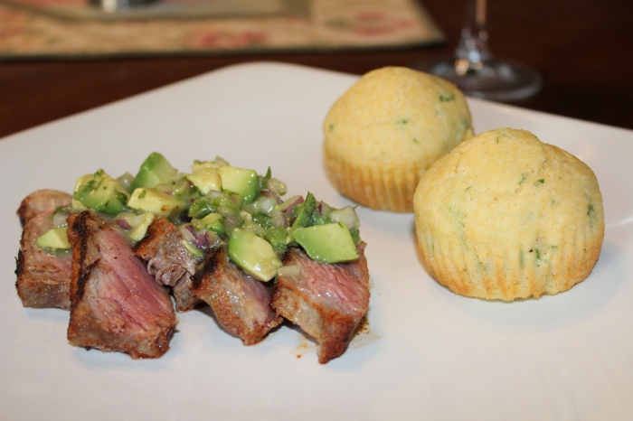 Spice-Rubbed New York Strip Steak with Avocado Lime Salsa